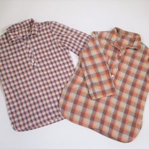 Vtg 70sTunic Shirts Bundle Plaid Orange Blue M